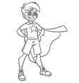little super boy line art vector image vector image