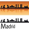 Madrid Skyline in orange background vector image