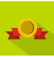 Medal with ribbon icon flat style vector image vector image