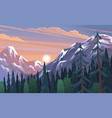 mountains landscape abstract lilac sunset vector image vector image