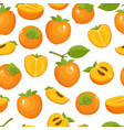 pattern with cartoon persimmon isolated on vector image vector image