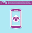 retro purple shopping basket on screen smartphone vector image vector image