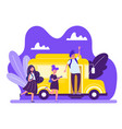 schoolkids entering yellow bus boy with backpack vector image vector image