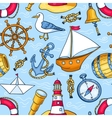 Seamless pattern with sea objects vector image
