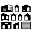 set of different dog houses vector image vector image