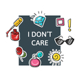 slogan I dont care with fashion patch and pins vector image