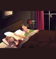 snoring man in the bedroom vector image vector image
