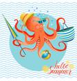summer poster octopus vector image