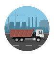 truck on industrial background vector image