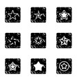 Types of stars icons set grunge style vector image vector image