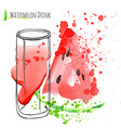 watermelon drink with slice of watermelon fresh vector image vector image