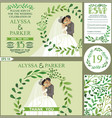 wedding invitationgreen branches wreath kissing vector image vector image