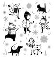 winter holiday season animals and kid vector image vector image