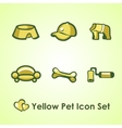 Yellow Icons set for man and his dog vector image vector image