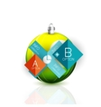 Christmas ball on white with reflection and vector image