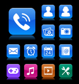 Mobile application icon set aqua theme vector | Price: 1 Credit (USD $1)