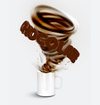 a cup of a realistic hot chocolate with a huge vector image