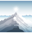 a sunset or dawn sun over the mountains landscape vector image