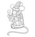 adult coloring bookpage a christmas mouse with a vector image