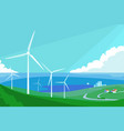 alternative energy resource with windmills vector image vector image