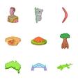 Australia tourism icons set cartoon style vector image vector image