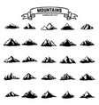 big set of mountains icons isolated on white vector image