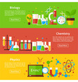 Biology Chemistry Physics Science Flat Horizontal vector image