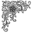 black-and-white lace flower in corner vector image