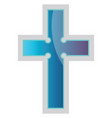 blue episcopal cross religion on a white vector image vector image