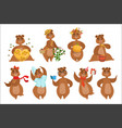 brown bear different activities set of girly vector image vector image