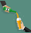 butler pouring beer on glass illustration vector image