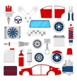 Car Parts Set Auto Service Repair Icons vector image