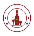 circular emblem with wine bottle and wine glasses vector image vector image
