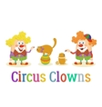 Circus Clowns with Trained Animals vector image