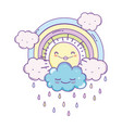 clouds and rainbow cartoon vector image vector image