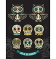 Collection of sugar skull cats in mexican style vector image vector image