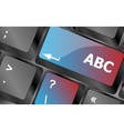 computer keyboard with abc button - social concept vector image