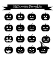 Cute halloween pumpkin emoji icons set Emoticons vector image vector image