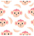 cute monkeys and bananas seamless pattern vector image vector image