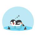 cute penguin sleep with fin sharks vector image vector image