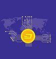 dash cryptocurrency brand icon option with golden vector image vector image