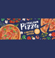 design horizontal ad banner for pizzeria with vector image vector image