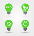 eco light bulb icons set vector image vector image