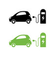 electric car and electrical charging station icon vector image vector image