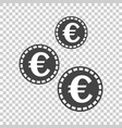 euro coins icon in flat style black coin on vector image vector image