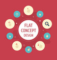 flat icons zoom out nudge sensory and other vector image vector image