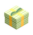 flat isometric gift box icon with bow gift vector image vector image