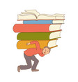 flat stressed exhausted man carrying books vector image vector image