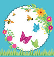 flowers with bees and butterflies in frame