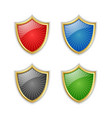 four colorful glossy golden shields placed on vector image vector image